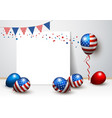 usa balloon and blank frame design vector image