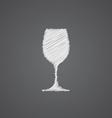 wineglass sketch logo doodle icon vector image