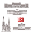 Architecture landmarks of USA vector image
