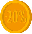 gold coin with minus twenty percent on a white vector image