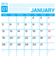 January 2015 calendar template vector image vector image