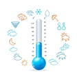 Weather Concept Blue Thermometr and Icon Set vector image
