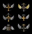 crosses religious emblems set heraldic coat of vector image