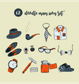 doodle icon set with man accessories and vector image
