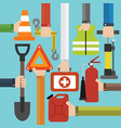 emergency car equipment design flat set vector image