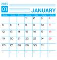 January 2015 calendar template vector image