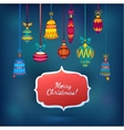 Merry Christmas Glass Balls on Blue Shining vector image