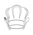 monochrome contour with chef hat and cutlery vector image