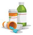 prescription capsule and bottles vector image