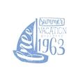 Summer Holidays Vintage Emblem With Sailing Boat vector image