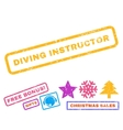 Diving Instructor Rubber Stamp vector image