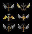 Crosses of christianity emblems set heraldic vector image