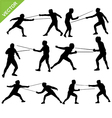 Fencing silhouettes vector image