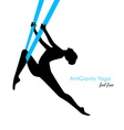 Anti-gravity yoga poses woman silhouette vector image