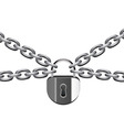 vector illustration of metal chain and padlock vector image vector image