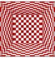Red and white chessboard walls room background vector image