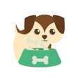 dog little brown bowl food b print vector image