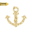 Gold glitter icon of anchor isolated on vector image