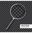 magnifying glass transparency on checkered black vector image