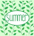 summer sign in oval frame with leaves vector image
