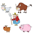 Farm Animals Characters With Farmer Set vector image