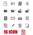 grey document icon set vector image