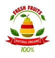 Ebmblem with pear and fruits slices vector image