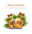 Christmas Card with Glass Balls and Fir Twigs vector image