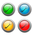 Key icon set on glass buttons vector image