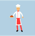 male chef cook character in uniform holding a cake vector image