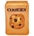 Brown bag of chocolatechip cookies vector image