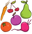 set Fruits and vegetables vector image vector image