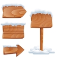 Wooden signs in snow set vector image