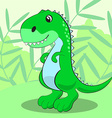 Cute dinosaur standing on a green meadow and vector image