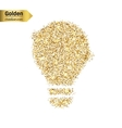 Gold glitter icon of bulb isolated on vector image