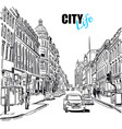 black and white city street template vector image
