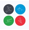 Horseback riding football and skiing icons vector image