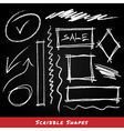 Scribble shapes hand drawn in chalk on chalkboard vector image