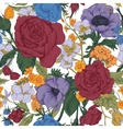 Vintage floral seamless pattern with roses vector image