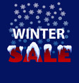 winter sale note with snow caps snowballs and vector image