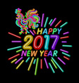 The rooster happy new year greeting card design vector image