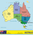 australia map with regions and their capitals vector image