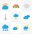 weather flat icons set collection of temperature vector image