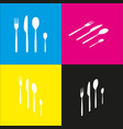 fork spoon and knife sign  white icon with vector image