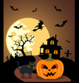 Halloween background with pumpkin and full moon vector image