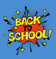 back to school poster in comic sound educational vector image