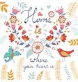 Home is where the heart is concept card vector image vector image