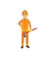 fireman character in uniform and protective helmet vector image
