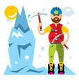 ice climber flat style colorful cartoon vector image