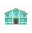 Residential Cottage with Terrace in Green Colors vector image